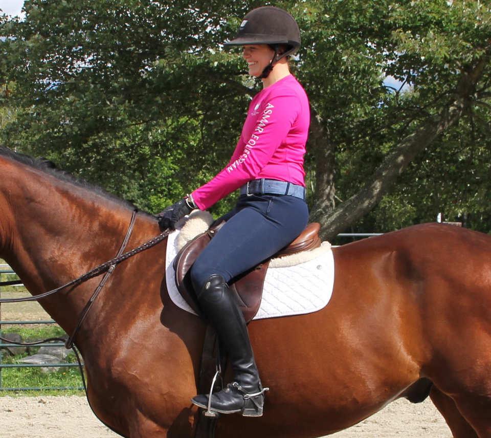 Rider trying used saddle